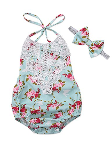 Newborn Baby Girl Floral Bodysuit Infant Kids Halter Backless Romper Outfits+Headband Clothes Set