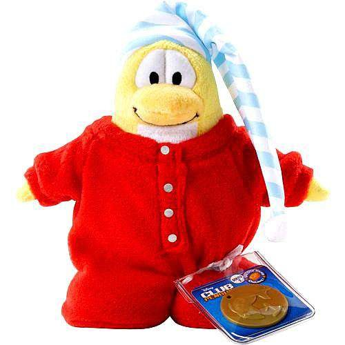 Club Penguin Disney Game (Disneys Club Penguin Series 2 Red Pajama Limited Edition 6.5 Plush (Includes Coin with Code))