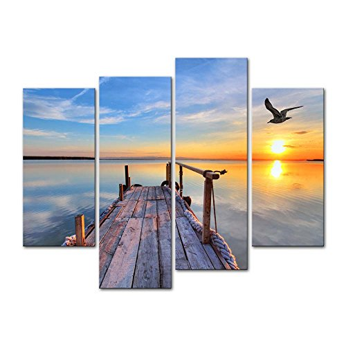 4 Pieces modern Canvas Painting Wall Art The Picture For Home Decoration Pier With Bird Flying And Colourful Sky At Sunset Lake Landscape Print On Canvas Giclee Artwork For Wall Decor (4 Piece Wall Art)