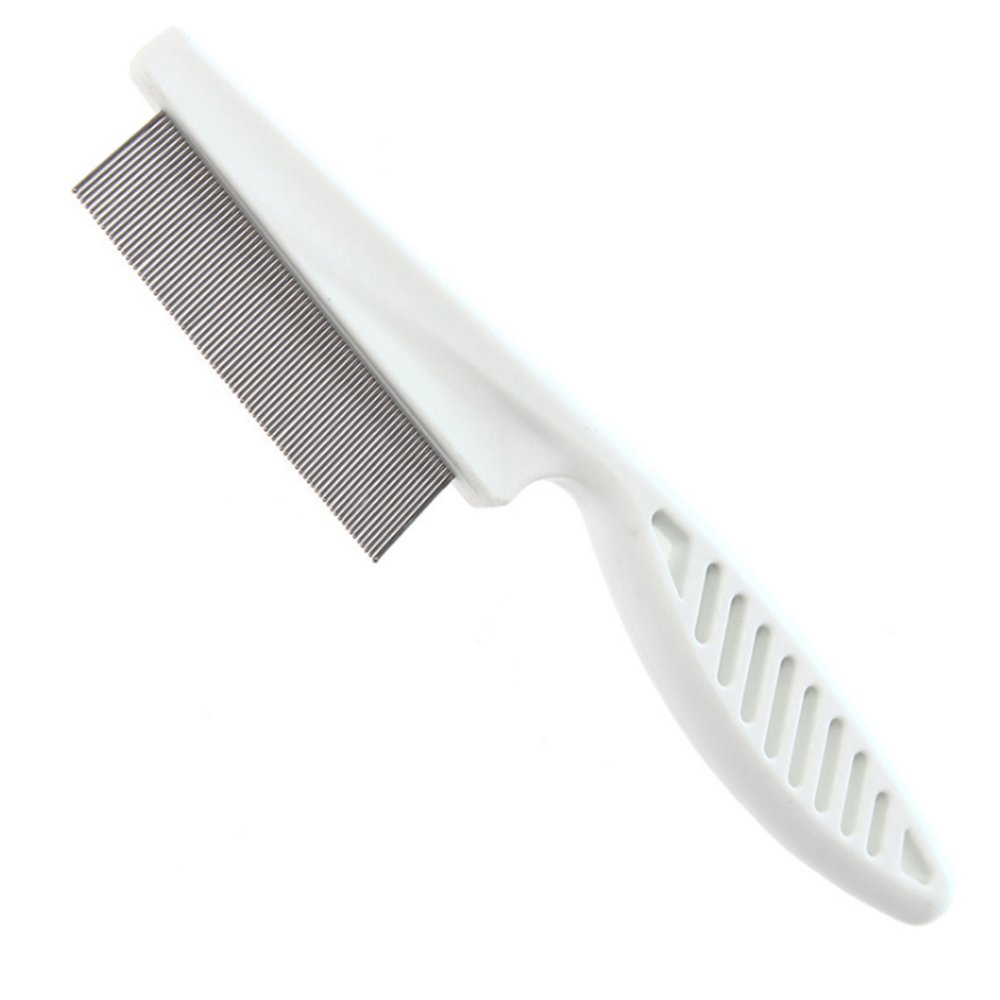 SPHTOEO Stainless Steel-Pin Flea Lice Comb for Pet Dogs Cats, Plastic Handle
