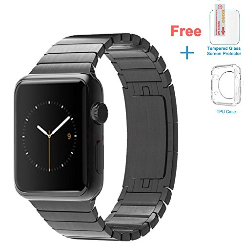 Eoso Stainless Steel Replacement Smart Watch Band Link Bracelet with Double Button Folding Clasp for 42mm Apple Watch All Model(Bracelet Black,42mm)