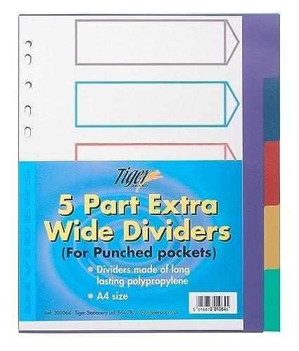 10 separadores de páginas A4 Tiger (5 partes con orificios ...