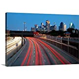 Gallery-Wrapped Canvas entitled Trails of vehicle lights along US Highway, Dallas, Texas by Great BIG Canvas 24''x16''