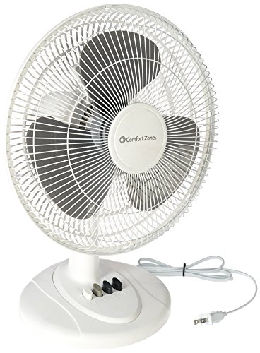 Comfort Zone CZ121 12in 3 Speed Oscillating Table Fan, 1 ea