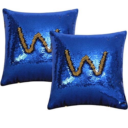 Vonty Reversible Sequin Pillow Cover Decorative Mermaid Sequins Pillow Covers Funny Color Changing Cushion Covers 16x16 (2pcs, Gold & Royal Blue) (Royal Gold And Blue Pillows)