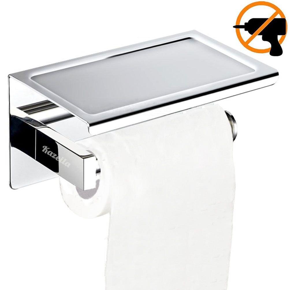 Porte-Rouleau de Papier WC avec Support de T/él/éphone pour Salle de Bain Kazeila Porte-Papier Toilette Mural avec Etag/ère de Rangement /épaississant 304 Acier Inoxydable avec Auto-adh/ésif 3M