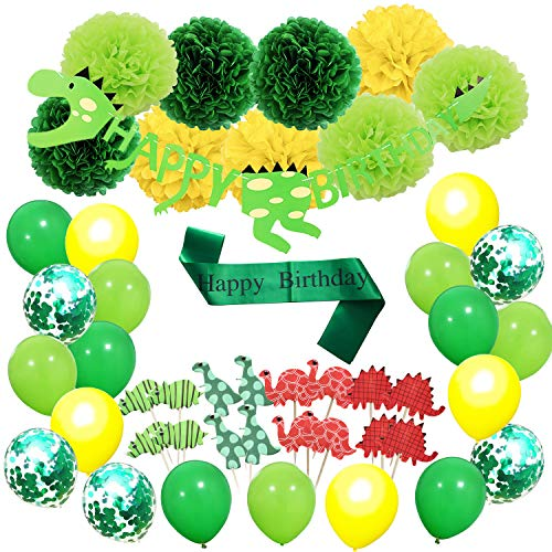 Allbest Party decoration,Dinosaur theme party for sons with pom poms flowers, birthday balloons,happy birthday banner and dinosaur cupcake toppers]()
