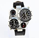 Pupug.TM Fashion Metal Dial Watch with Dual Quartz Movement/Compass/Thermometer Black dial
