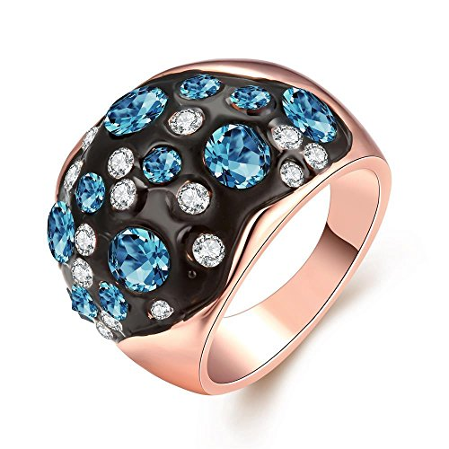 [Personalized Rose Gold Plated Blue Colorful Rhinestone Ring Classic Rings - Night Sky] (1920s Halloween Costumes Antique)