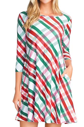 Christmas Dresses with Pockets for Women 3/4 Sleeves Swing Holiday Party Dress Up Color Argyle Plaid, Small (Ideas Christmas Vacation Outfit)