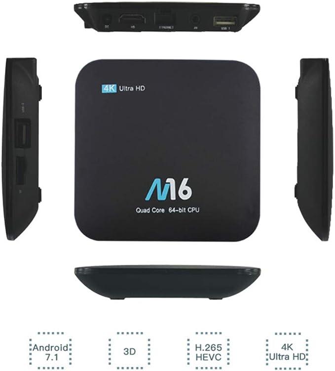 M16 Lite H3 Quad Core HD Android 7.1 Set-Top Box 4K 2G + 16G Smart TV Box: Amazon.es: Hogar