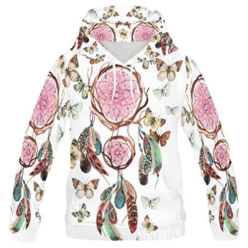 InterestPrint Custom Beautiful Dream Catcher Butterfly Teenager's Pullover Hoodies Sweatshirt XXXS
