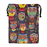 Cartoon Owls Drawstring Backpack Bags for Party Favors Supplies Birthday, Gift for Kids Teens Boys and Girls, 1 Pack 15.75 x 11.8''''