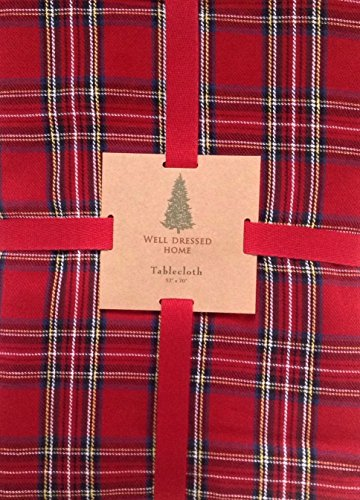 rt-a102 Classic Red Tartan 102 x 60 Tablecloth 100% Cotton Royal Stewart Christmas -