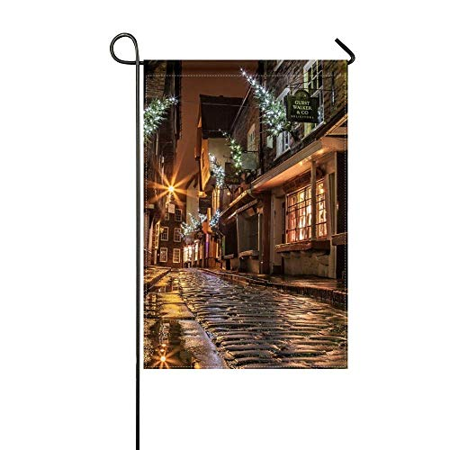 DongGan Garden Flag Street Houses Road Paving Windows Lights Shopping Evening Night England Christmas New Year 12x18 Inches(Without Flagpole)