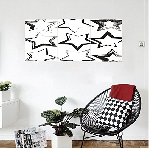 Liguo88 Custom canvas Grunge Home Decor Set Of Grunge Star Brush Strokes With Different Borders And Angles Artisan Print Bedroom Living Room Decor Black White (Linen White Touch Up Paint)