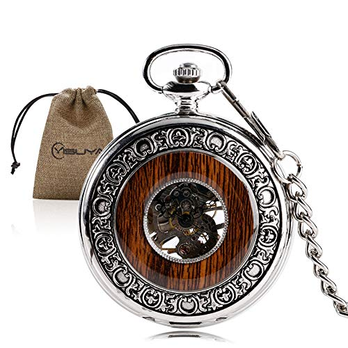 (Wood Watch Mechanical Skeleton Wooden Pocket Watch Clock Pendant with Chain Christmas Gifts)