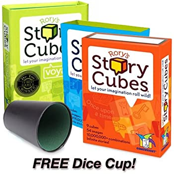 Rory's Story Cubes Combo Pack: Includes Original, Action and Voyages Edition with Free Dice Cup by Gamewright