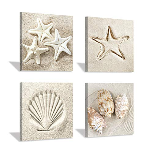 Coastal Serene Canvas Wall Art: Shells on Beach Sand Giclee Print Painting for Wall Decor for SPA Room (12''x12''x4pcs)
