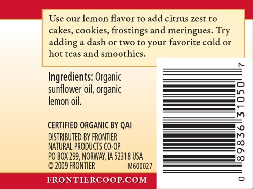 Frontier Co-op Lemon Flavor Organic, Non-Alcoholic, 2 ounce bottle 5 2 Fluid Ounce Bottle Fresh, organic lemon flavor for adding pucker to cookies, cakes, sauces and beverages Certified Organic, Kosher