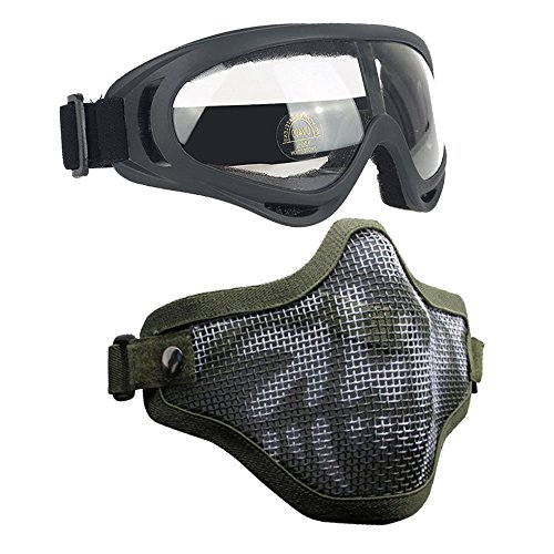 Airsoft Masks- Adjustable Half Metal Steel Mesh Face Mask And UV400 Goggles Set For Hunting, Paintball, Shooting (Green Skull, 1 Set)