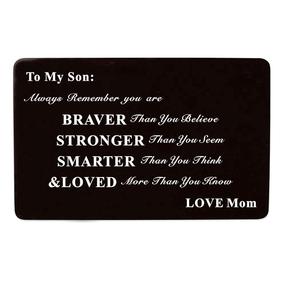 Laser Engraved Aluminum Metal Wallet Card Love Note Insert Card Gift for Son Birthday Gift from Mom Mother