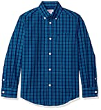 IZOD Big Boys' Long Sleeve Plaid Button-Down Shirt, Med Blue, M