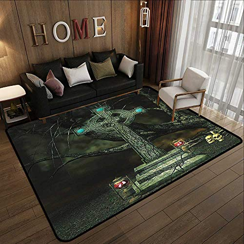 """Bath Rugs,Gothic Decor Collection,Gothic Cross Tree Grave Skulls Tombstone Lanterns Graveyard Night Art,Blue Grey 59""""x 71"""" Dining Table Rugs"""