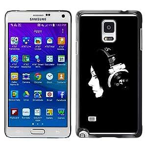 Paccase / SLIM PC / Aliminium Casa Carcasa Funda Case Cover - Music Minimalist Music Girl - Samsung Galaxy Note 4 SM-N910F SM-N910K SM-N910C SM-N910W8 SM-N910U SM-N910