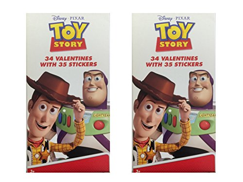Toy Story 34 Count Valentines With 35 Stickers (2 - Cards Toy Valentine Story