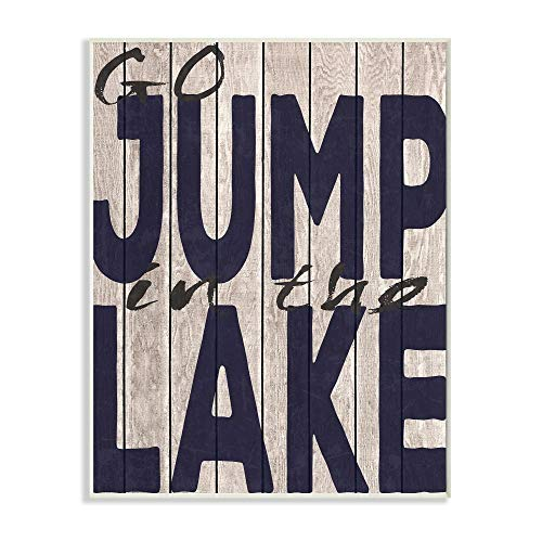 The Stupell Home Decor Collection Go Jump In The Lake Country Typography Navy Wall Plaque Art 10 x 15 Multi-Color (In Lake Jump The Go)