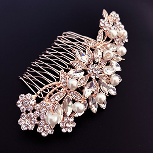 - Ammei Rose Gold Wedding Hair Comb With Pearls and Crystals Wedding Hair Accessories Bridal Headpiece Or For Parties (Rose God)
