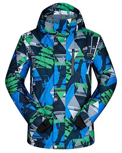 ELETOP Men's Ski Jacket Outdoor Waterproof Windproof Coat Snowboard Mountain Rain Jacket SJM009 Triangle Green US XL