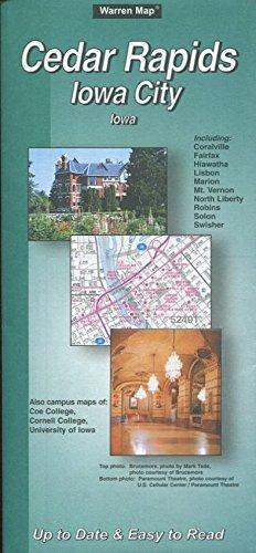 MAP OF CEDAR RAPIDS & IOWA CITY IOWA /STREETS /INCLUDING CORALVILLE /FAIRFAX /HIAWATHA /LISBON /MARION /MT. VERNON /NORTH LIBERTY /ROBINS /SOLON /SWISHER+++ /HUGE FOLDOUT