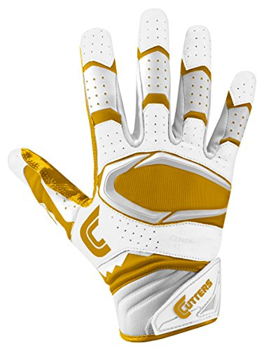 Cutters Gloves Rev Pro 2.0 Receiver Football Gloves, White/Gold, Medium