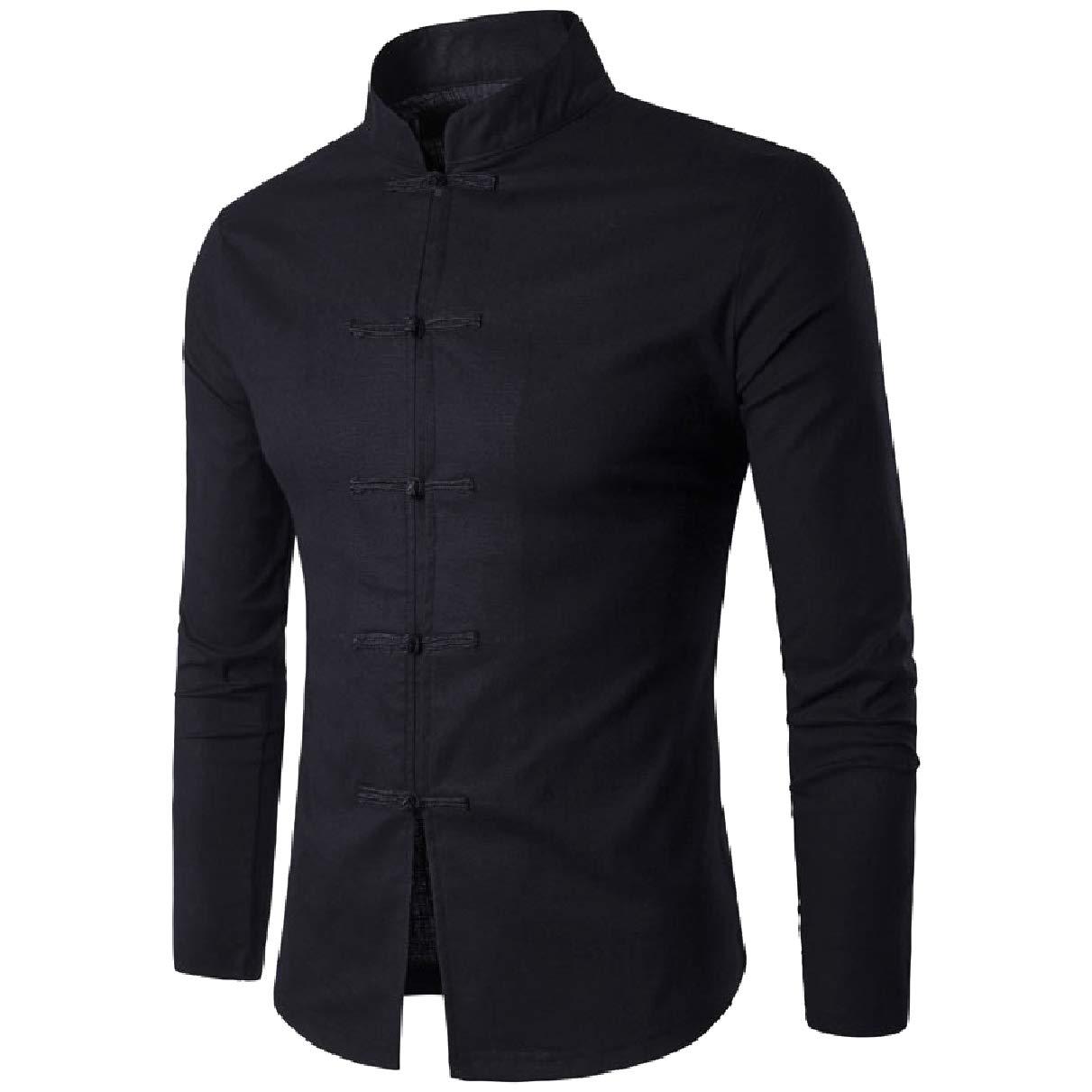 Coolred-Men Oversized Casual Leisure Solid Mandarin Collar Western Shirt