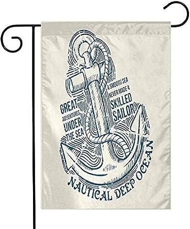 Eastlif Bandera de jardín Duradera Ancla de Ancla Marinero Experto Aventuras bajo el mar Náutica Motivación Arte Vintage Diseño de una Cara Colorido Crema Azul