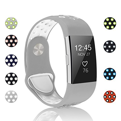 POY Replacement Bands Compatible for Fitbit Charge 2, Adjustable Breathable Wristbands with Air Holes Straps, Small Gray White 1PC