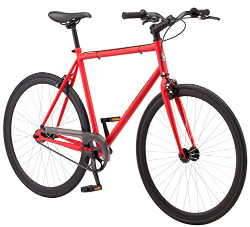 (Schwinn Kedzie Single-Speed Fixie Bike, Featuring 58cm/Large Steel Stand-Over Frame with 700c Wheels and Flip-Flop Hub, Perfect for Urban Commuting and City Riding, Matte Red)