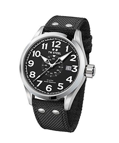 TW Steel Men's 'Volante' Quartz Stainless Steel and Nylon Dress Watch, Color:Black (Model: VS1)