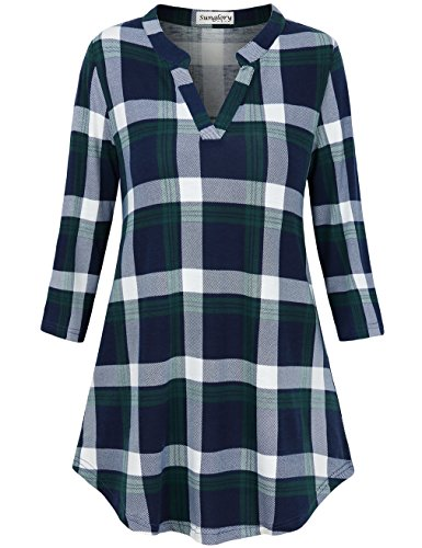 Sleeve Long Tunic 3/4 Sleeve (SUNGLORY 3/4 Sleeve Tunics for Women, Juniors Fashion Split V Neck Plaid Tunic Blouses Tops L)