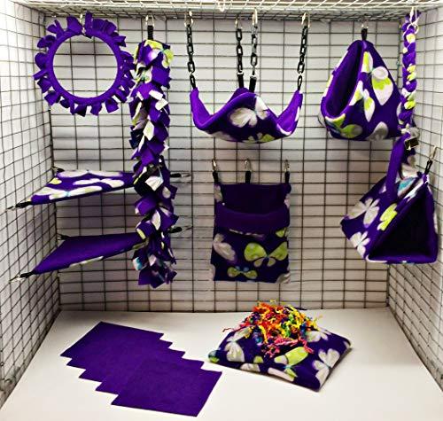 Sofun Pet Products 15 Piece Sugar Glider cage Pouch Set Double Layered - Sugar Fleece Blanket Glider