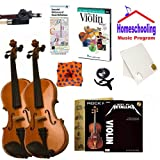 Homeschool Music - Learn the Violin Parent & Child Pack (Metallica Book Bundle) - Includes Student 3/4 Violin & Full Size 4/4 Violin w/Case, DVD, Books & All Inclusive Learning Essentials