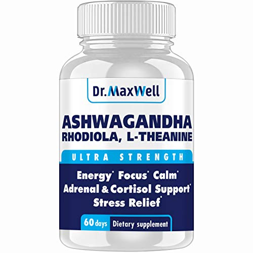 Dr.Maxwell Cortisol Manager, Adrenal, Thyroid Support. Clinically Proven Amounts, 2X More vs. Competitors, 120 Pills, USA, Money Back Guarantee, Adaptogen Stress Relief, Relaxation, Mood. No Fillers