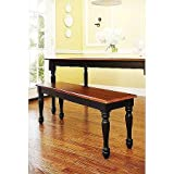 Better Homes and Gardens Autumn Lane Farmhouse Bench, Black and Oak Review