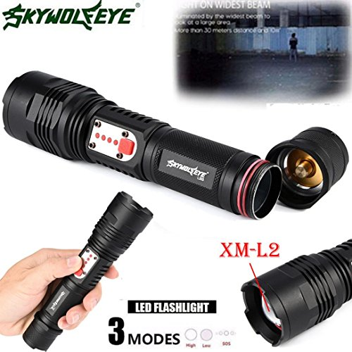 ALIKEEY Zoom USB rechargeable XM-L2 U2 LED Zoom 26650 Lampe torche à 3 modes Lampe de poche noire Lampe de poche étanche Haute lumière