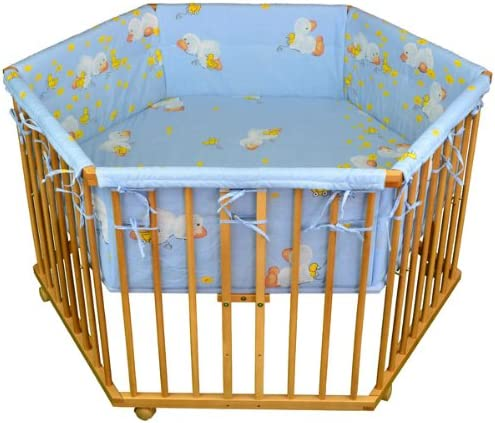 Honey Bee Parc bébé de luxe parc enfant 6 square parc de bebe bleu clair - motif canard 52304-D02