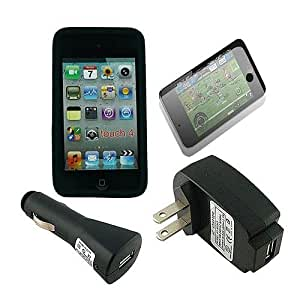 Skque Soft Silicone Cover+USB Wall+Car+Screen Protector For APPLE IPOD TOUCH 4G
