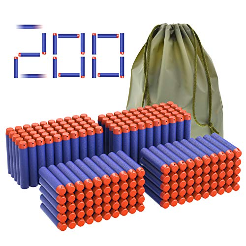 Coodoo Nerf Compatible Darts 200 PCS Refill Pack Bullets for Nerf N-Strike Elite Series Blasters Toy Gun - Blue with Storage Bag