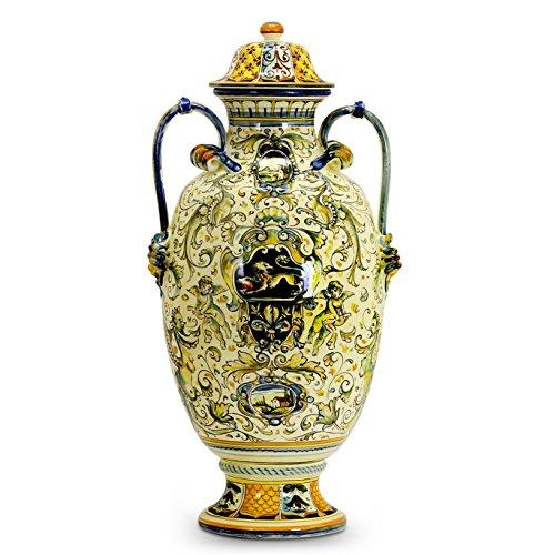 MAJOLICA TOSCANA: Grottesche Design DeLuxe Anphorae with Crest Designs (Italian Urns Pottery Deruta)